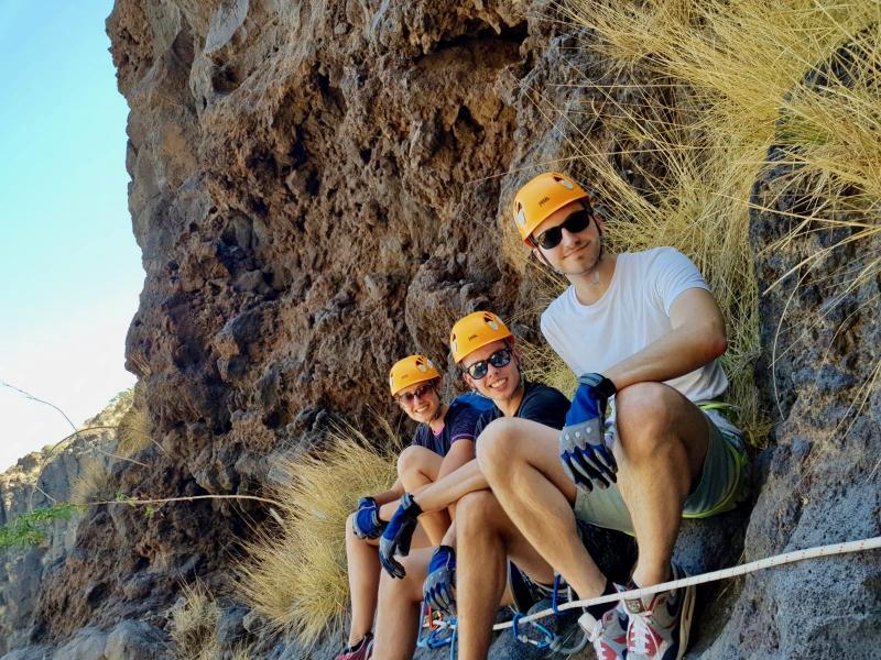 Even uitrusten tijdens canyoning