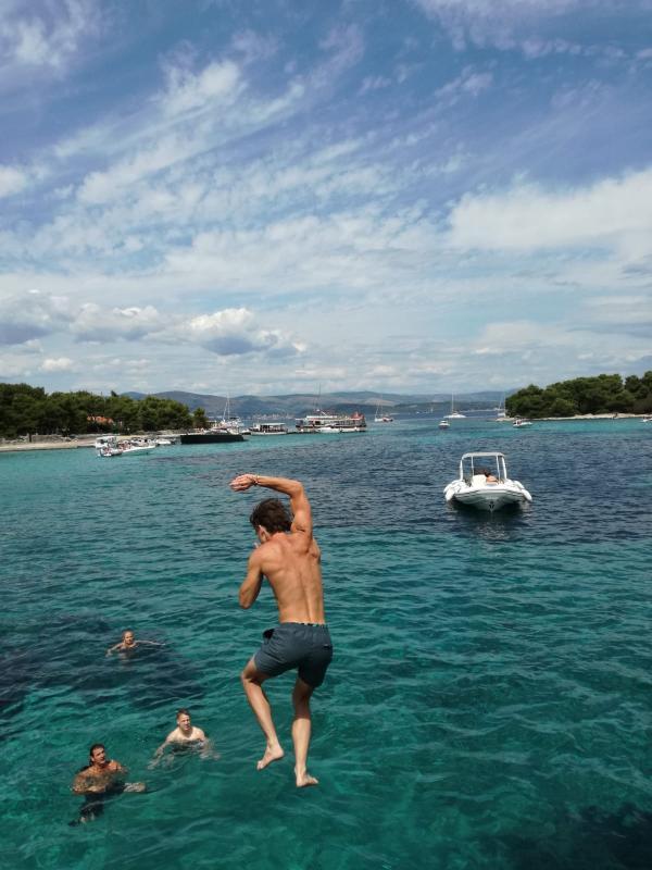 Zwemmen tijdens de boottocht