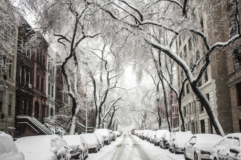 Besneeuwde wijken New York