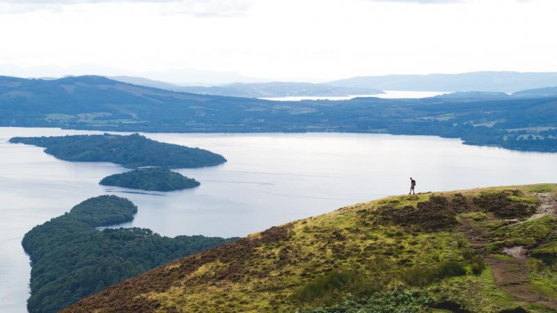 Conic Hill beklimmen, het uitzicht