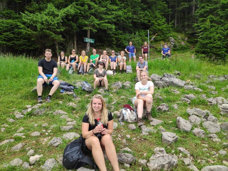 Even uitrusten tijdens het hiken