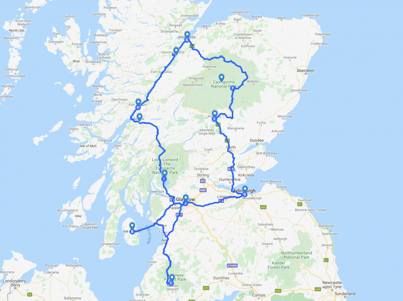 Route Schotland