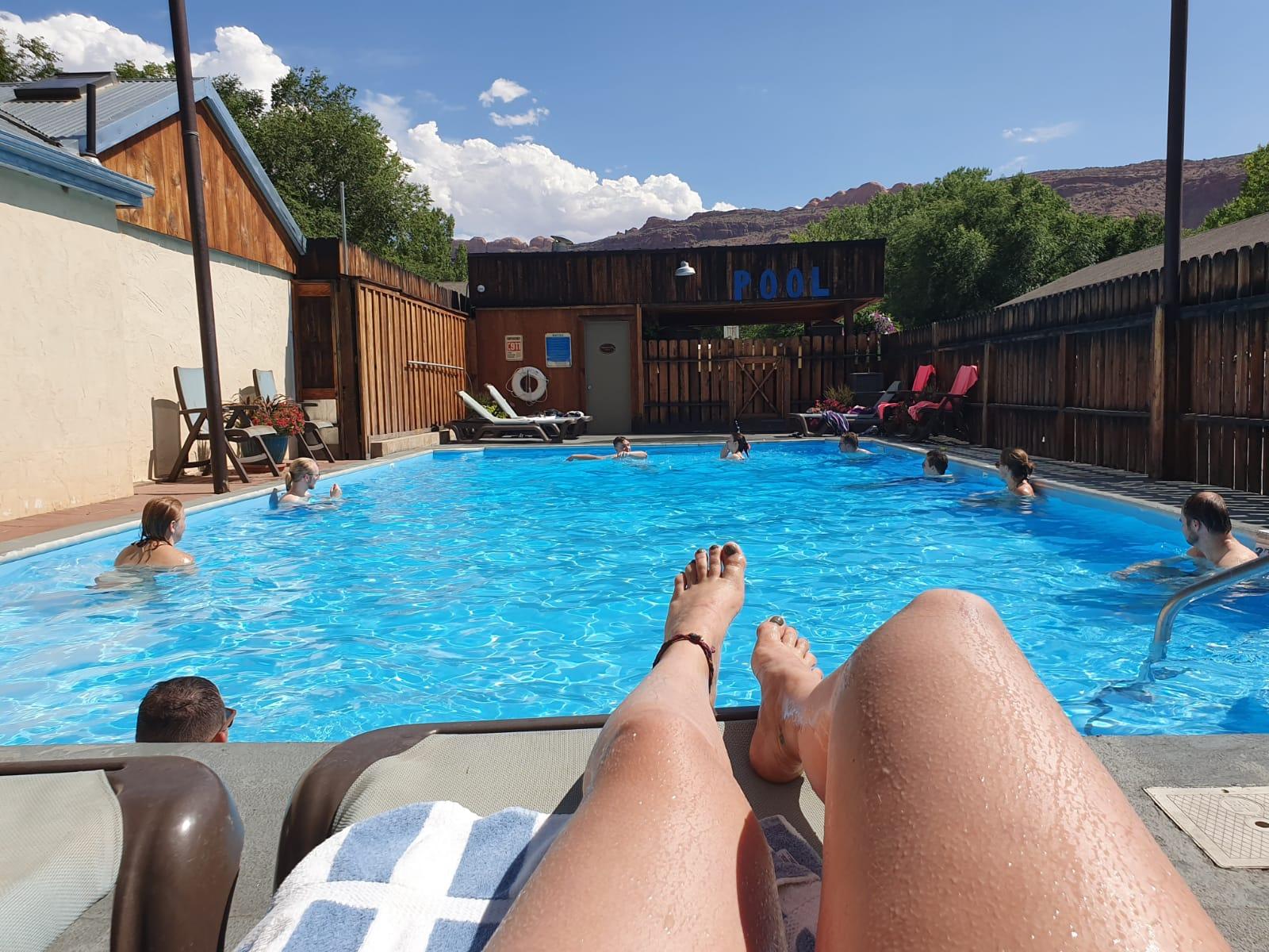 Zwembad accommodatie Moab NP rondreis