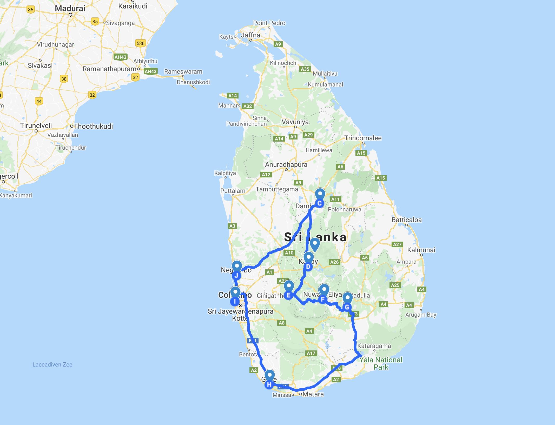 kaart Sri Lanka rondreis